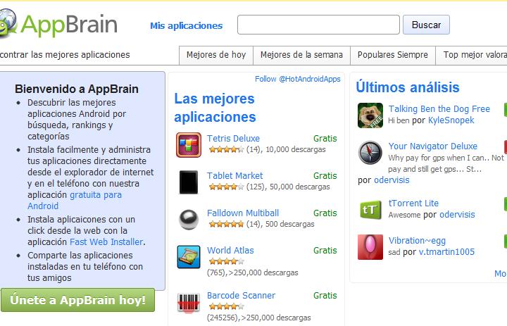 Markets, alternativos para android en ingles y español